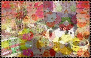 CaturdayArt2016-04-16linen and flowers